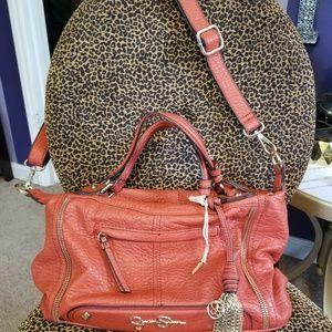Jessica Simpson Orange Chain Zipper Satchel Bag
